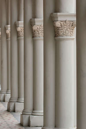 Vertical shot of multiple columns with carvings photo