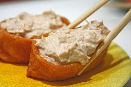beancurd: pair of tuna mayo beancurd sushi