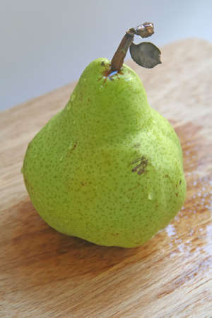 intact: Pear with leaf still intact