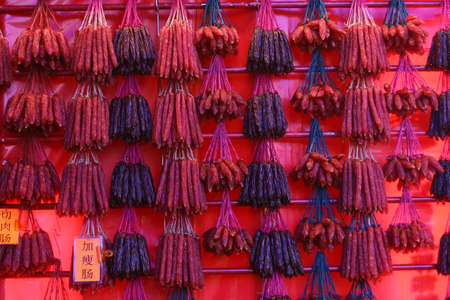 waxed: Rows upon rows of chinese waxed sausages Stock Photo