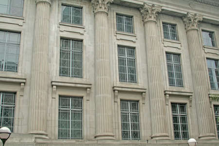neo gothic: facade of a british neo classical building Stock Photo