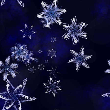 icy: illustration of snow flakes on a blue icy backdrop Stock Photo