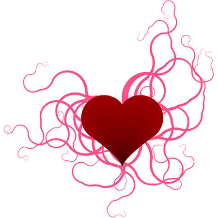 sizzling: Red heart with pink ribbon clip art Stock Photo
