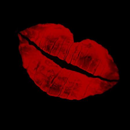 dramatic red lip imprint agaisnt a black background photo