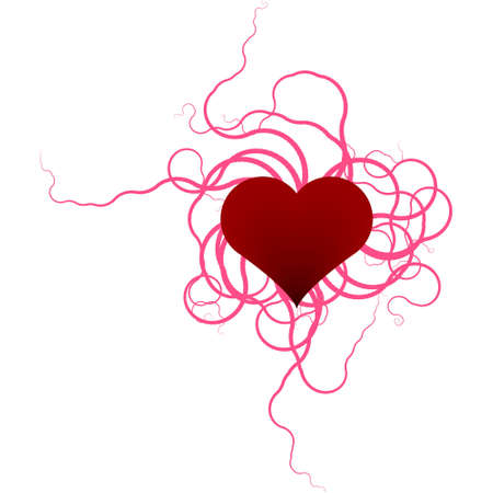 denoting: Red heart with ribbons denoting romance