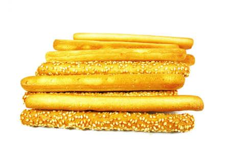gressins: m�lange de beurre et de pain de s�same blanc Banque d'images
