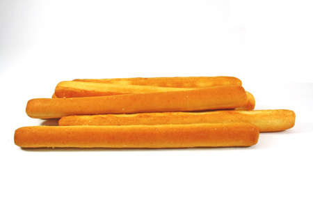 bread and butter: butter bread sticks on white background