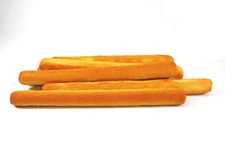 breadsticks: mantequilla palitos de pan en el fondo blanco