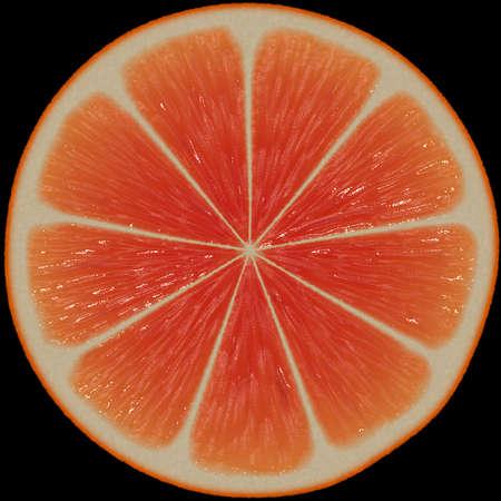Illustraion Of A Tangerine Slice On Black Background Stock Photo