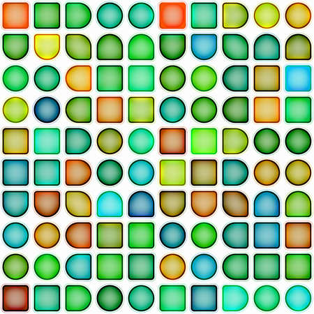 gaudy: wallpaper made up of random shapes and colors (seamless tiling)