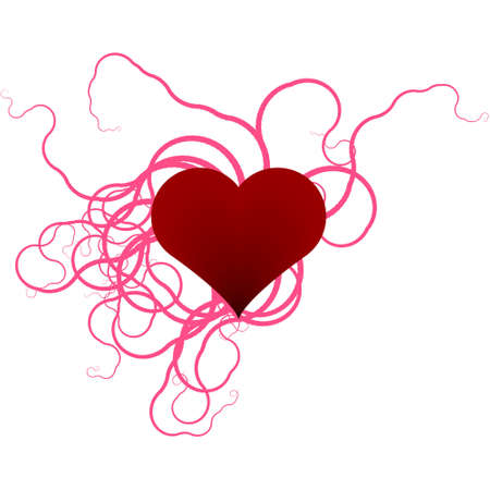 sizzling: illustration of a heart surrounded by ribbons