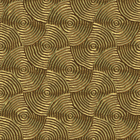 discs: circular tribal print in gold that can be seamlessly tiled Stock Photo