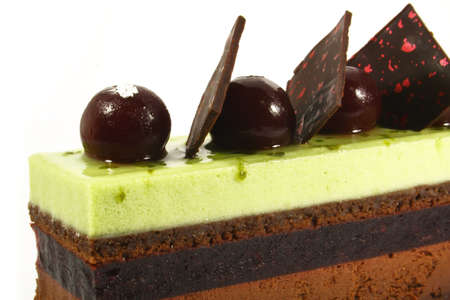 sinful: slice of chocolate green tea mousse cake