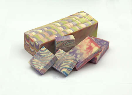 Collection of handmade soap on white background Banco de Imagens