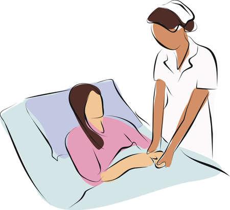 verpleegster bedrijf hand palliatieve zorg patiënt voor haar tot een kracht van de geest
