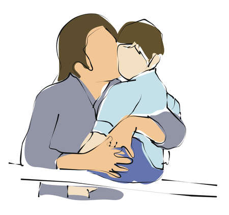 freetime: mom holding her son and kiss him