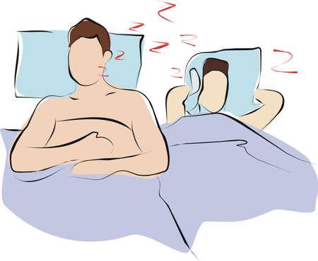 oorzaken: man slapen en snurken loundy totdat zijn vrouw kan niet slapen Stockfoto
