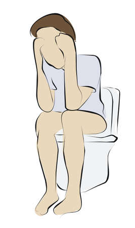 excrete: constipation or diarrhea on toilet Stock Photo