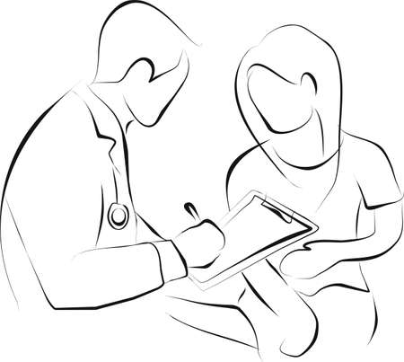 medical record: doctor is writing the medical record from patient that stomach ache