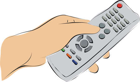finger pushing a TV remote Stock Photo