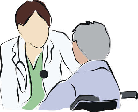patient doctor: doctor with patient. Stock Photo