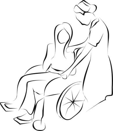 palliative: nurse holding hand palliative care patient wheelchair for make her a power of mind