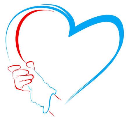 cuore in mano: stringere la mano e il cuore