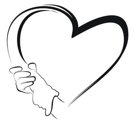 corazon en la mano: sostener la mano y el coraz�n