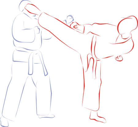 karate fighter: fight and kick Stock Photo