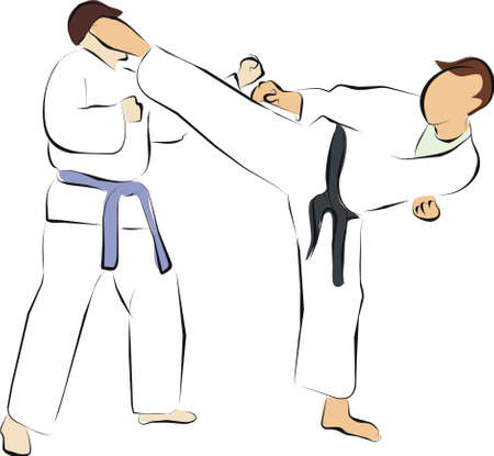 fight and kick Stock Photo