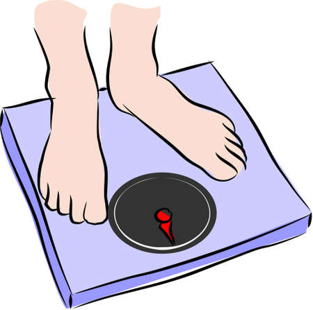 lose weight: Man on weighing scale  Stock Photo