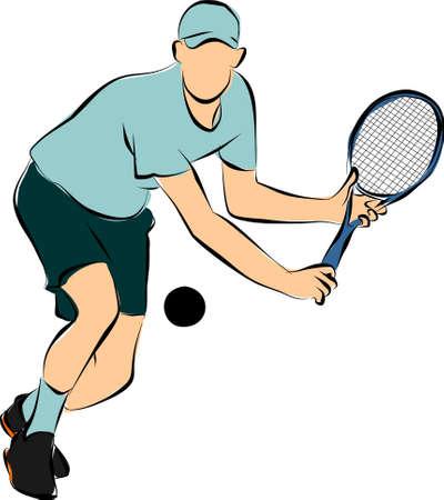 sportsman: playing tennis
