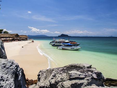 beautifu: hut on beautifu beach  and boat sand blue sky Editorial