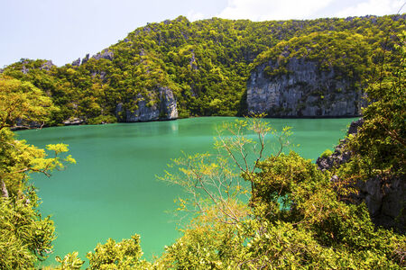 crater highlands: beautiful water blue lagoon in the valley Stock Photo