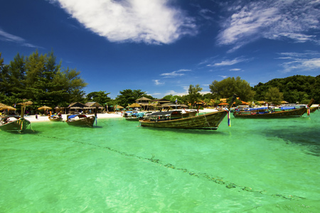 mountin: Beautiful beach and sea with longtail boat on Koh Lipe  Andaman Sea Thailand