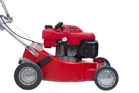 Lawn mowers red wiht isolated Zdjęcie Seryjne