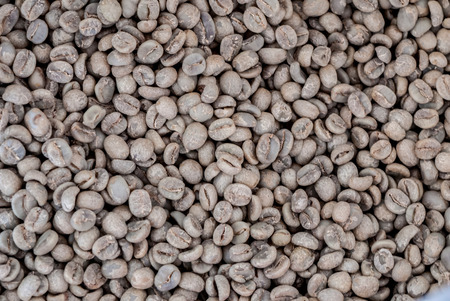 produced: Robusta coffee seeds produced in Thailand Stock Photo