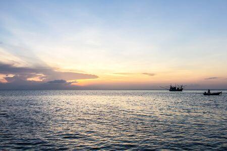 long tailed boat: long-tailed boat and sunset at sea, Koh Phangan,Surat Thani, thailand