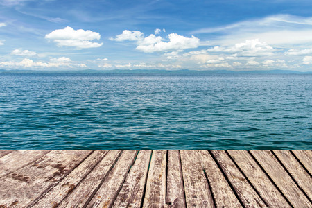 high view: wooden walkway on sea and blue sky Stock Photo