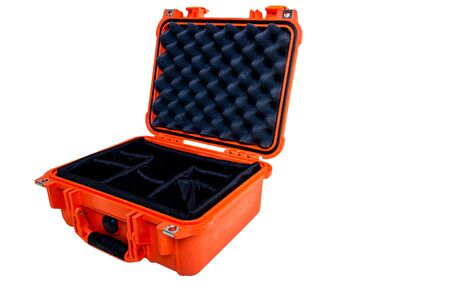 foam safe: Hard Case Plastic Protect Water Resistant Equipment, isolated on white