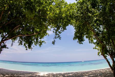 oceanscape: Fisheye view of Sea and beach at koh rok, krabi, thailand Stock Photo