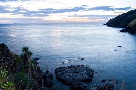 Beautiful sunrise over the tropical beach, andaman Sea, koh lanta, krabi, thailand Stock Photo