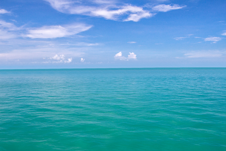 ripple effect: Blue sea waves surface and blue sky background