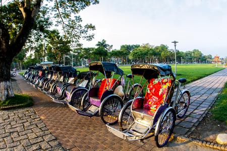 Cyclo (pedicab) Beautiful Color in Hue Province. Vietnam Stock Photo