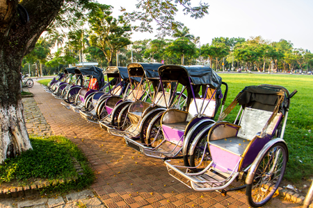 Cyclo (pedicab) Beautiful Color in Hue Province. Vietnam 版權商用圖片
