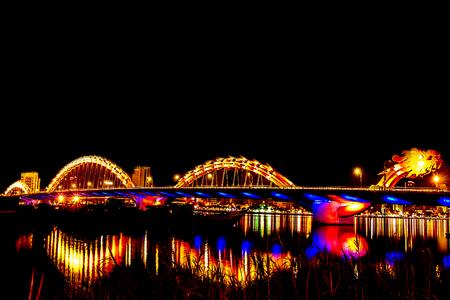 아름답고 조명 밤에, 다낭, 베트남 스톡 콘텐츠