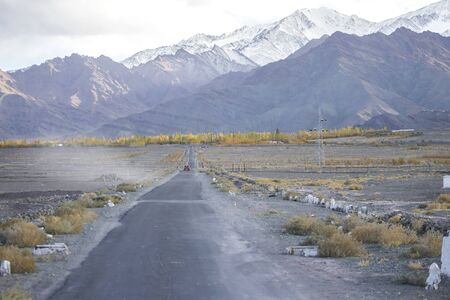 Road In Leh ladakh Beautiful landscape, Autumn Colourful with Mountains Background, Leh, Ladakh, India