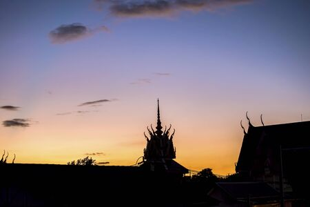 Naga or serpent statue and sunrise background, thailand Zdjęcie Seryjne