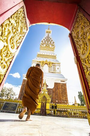 Wat Phra That Phanom is near the banks of the Mekong river in Nakhon Phanom province temples of North East Thailand Sajtókép