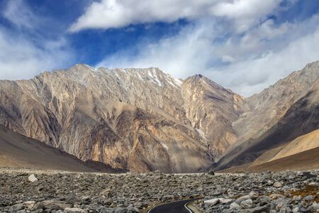 Leh Ladakh, beautiful Landscape view on road around with mountain and sky background, Leh, Ladakh, Jammu and Kashmir, India Zdjęcie Seryjne